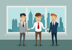Businessmen shaking hands in modern office Stock Illustration