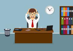 Stressful businessman has a lot telephone calls Stock Illustration
