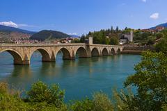 Old Bridge on Drina river in Visegrad - Bosnia and Herzegovina Stock Photos