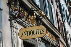 antiquities shop panel - stock photo