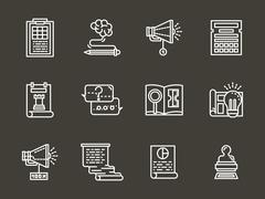 Simple white line accounting service vector icons - stock illustration