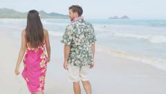 Couple Walking On Hawaiian Beach During Vacation On Romantic Travel Holidays Stock Footage