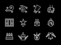 Stock Illustration of Simple line New Years vector icons set