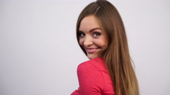 Woman turning around and smiling 4K. Stock Footage