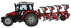 Red tractor with a plow Stock Illustration
