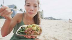 Stock Video Footage of Smiling Woman Eating Traditional Hawaiian Food – Healthy Eating Lifestyle