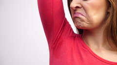 Woman sweating very badly have wet armpit 4K Stock Footage