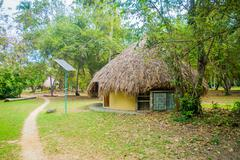 Bungalow with solar panel in Tayrona Natural National Park, Colombia - stock photo