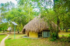 Bungalow with solar panel in Tayrona Natural National Park, Colombia Stock Photos