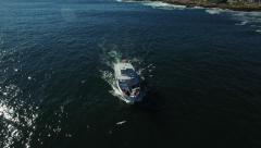 Aerial view of a sightseeing boat off the coast of Maine Stock Footage