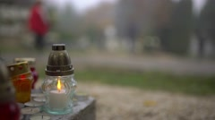 Candle light in a cemetery 4K Stock Footage