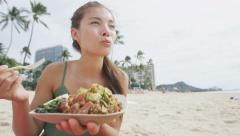 Woman Eating Traditional Poke Salad At Beach – Healthy Eating Lifestyle Stock Footage