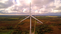 Large fields with big windmills on it Stock Footage