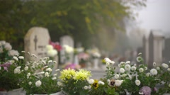 Flowers in the cemetery 4K Stock Footage