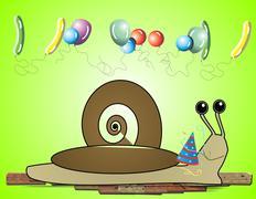 Snail's birthday Stock Illustration