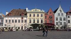 Town Hall Square (in 4k) in Tallinn, Estonia. Stock Footage