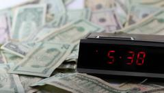 Fast Clock with Still Money - stock footage