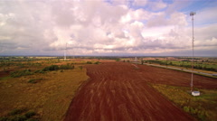 The wide large field where windmills are found Stock Footage