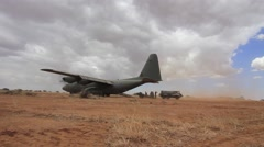 Military training exercize: Hercules C130 aircraft Stock Footage