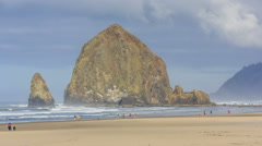 Haystack rock Cannon Beach, Oregon - stock footage