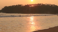 Tropical beach and sea water wave at Mirissa during sunset, Sri Lanka Stock Footage