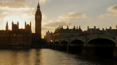 Sunsets behind Parliament and Westminster Stock Footage