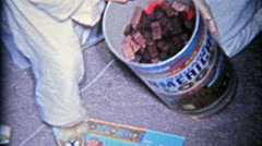 1963: American plastic building lincoln logs canister dumped over for Stock Footage