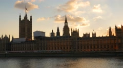 Pan at sunset from Parliament to Bridge Stock Footage