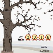 New year 2016 billboard on train in winter - stock illustration