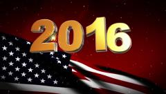 2016 New Year USA flag background Stock Footage