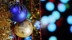 Christmas New Year Balls And Blinking Lights background Stock Footage