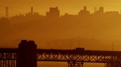 Aerial sunrise view San Francisco California Golden Gate Bridge USA Stock Footage