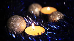 Christmas New Year candle blue sparkling Background_3 - stock footage