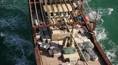 Cenital Shot of an Arab dhow Sailing in the Persian Gulf, Bahrain Stock Footage