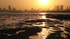 Manama Skyline at Sunset from a place of nature, Bahrain Stock Footage