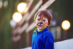 Cute boy with painted face as a lion, having fun - stock photo