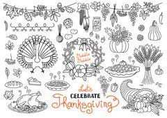 Let's celebrate Thanksgiving Day doodles set. Traditional symbols - thanksgiving Stock Illustration