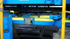 Manufacturing of parts on the machine. Production line at manufacturing plant Stock Footage