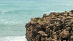 Sea and rocks in Peniche, Portugal Stock Footage