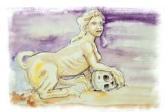 Sphinx watercolor illustration Stock Illustration