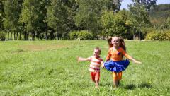 Happy kids running on the grass on a sunny day. Brother and sister. - stock footage