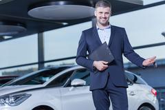 Car buyer with keys - stock photo