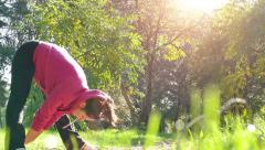 Slow Motion Of Exercise In A Nature Stock Footage