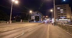 Štefánikův Most at night in Prague Time Lapse Stock Footage