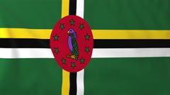 Flag of Dominica waving in the wind, seemless loop animation - stock footage