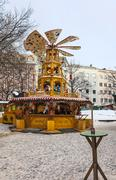 Wooden Christmas Carousel - stock photo