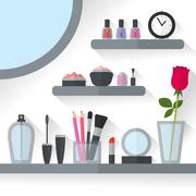 Home dressing table interior vector illustration Stock Illustration