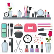 Make up flat icons. Vector illustration - stock illustration