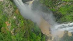 Rotate over 3 waterfalls at Jog Falls India Stock Footage
