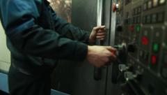 Worker working with cnc machine Stock Footage